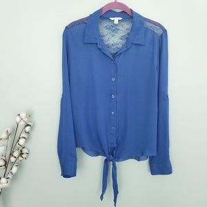 3/$15 Candie's Blue Long Sleeve Blouse Sz XL
